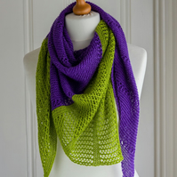 Lace shawl hand knit in a merino wool and silk yarn in amethyst purple and green