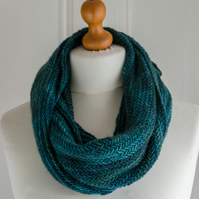 Herringbone Forest Cowl - hand knit in the round with a soft merino wool