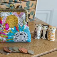 Coin purse made with summery Susannah Liberty Lawn and a golden lining