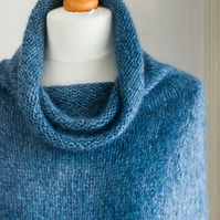 This cape is 'The Supersized Hug' - hand knit, isoft and warm capelet or poncho