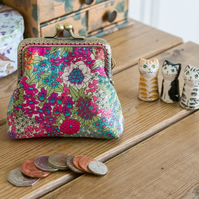 Coin purse made with Ciara print Liberty Lawn, a bright pink Essex Linen lining