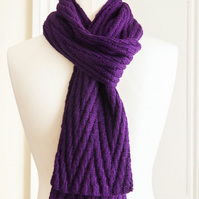 This scarf would be great for a guy or a girl - warm, reversible, hand knit