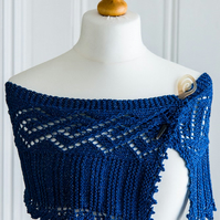 Shoulder wrap - hand knit summer shoulder wrap or shawl, in blue