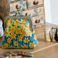 Coin purse made with Liberty lawn in daffodil print