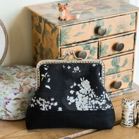 Large coin purse made with a elegant monochrome nani iro print on cotton lawn