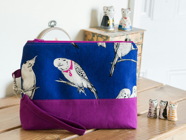 Project bag - a generously sized zipped pouch featuring budgies in ties!