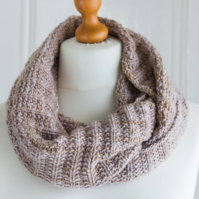 Reversible cowl or scarf hand knit in super soft pure merino wool