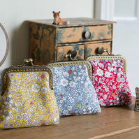 Coin purse made with Liberty cotton in the print: 'June's Meadow' in 3 colours