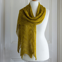 Hand knit wrap or shawl made with luxurious alpaca silk and cashmere blend yarn