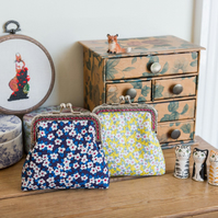 Coin purse made with Liberty Lawn in the print: 'Ffion', in blue or yellow