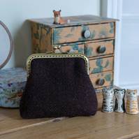 Frame purse made with chocolate brown Harris Tweed and Liberty Tana Lawn