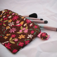 Make Up Purse / Pencil Case - Birds and Flowers