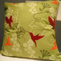 **RESERVED**Green Floral Hummingbird Cushion
