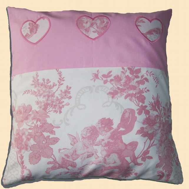 3 Hearts Applique on Pink Toile de Jouy Cushion Cover & Pad