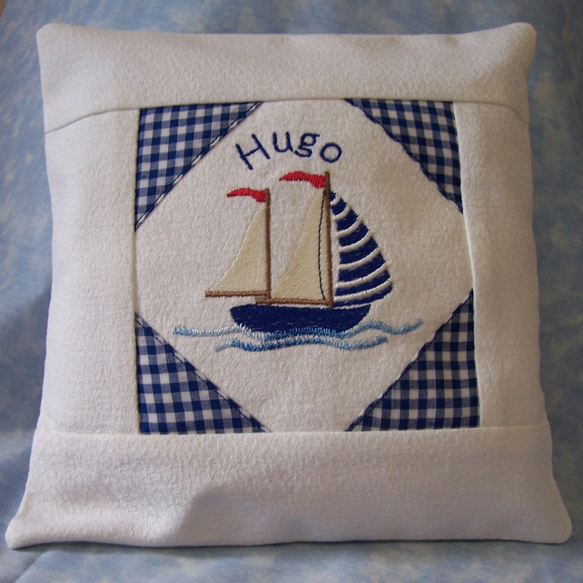 Personalised Embroidered Sailing Ship Cushion Cover & Pad
