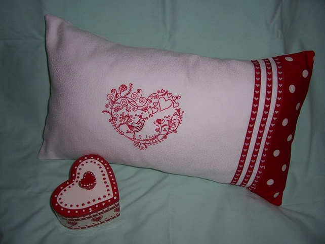 Bird in a Heart Embroidered Oblong Cushion