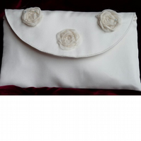Sparkly Ivory Silk Mini Clutch Bag with Crystals