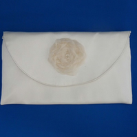Ivory Silk Clutch Bag with Crystals