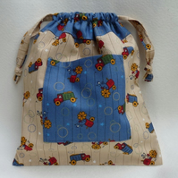 Child's Tractor and Truck Drawstring Bag