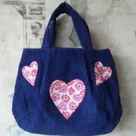 Girl's Blue Cord Tote Bag