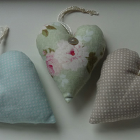 Set of Green and Beige Lavender Hearts