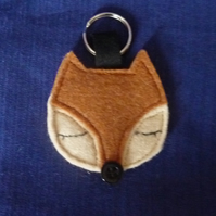 Brown Sleepy Fox Keyring