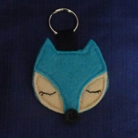 Blue Sleepy Fox Keyring