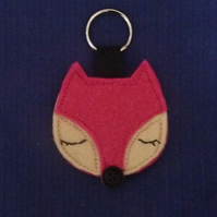 Pink Sleepy Fox Keyring