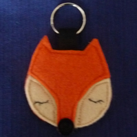 Orange Sleepy Fox Keyring