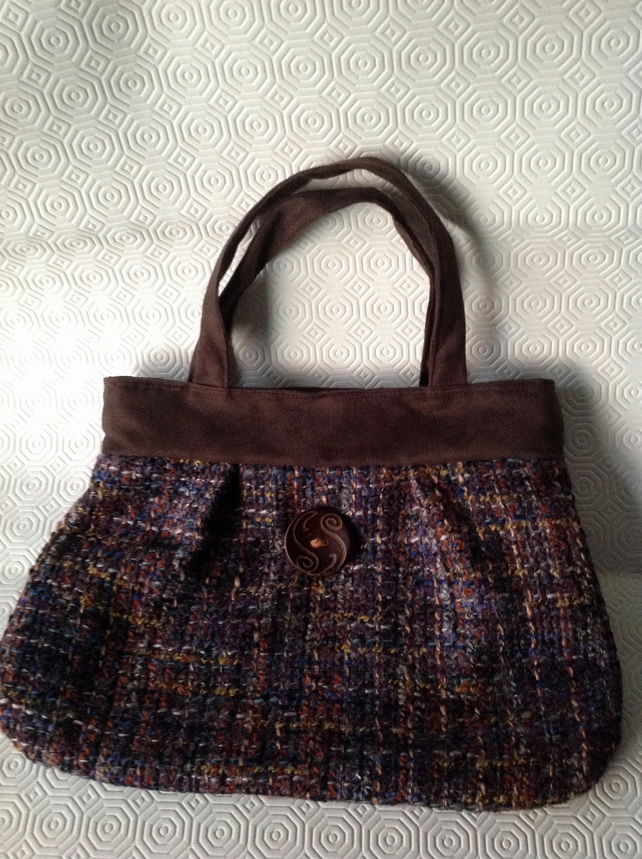 Brown Faux Suede and Tweed Handbag