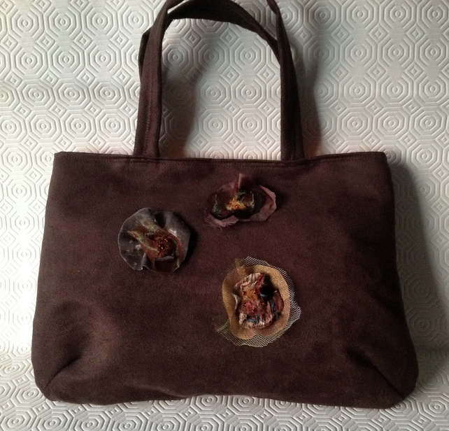 Brown Faux Suede Handbag
