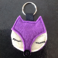 Purple Sleepy Fox Keyring