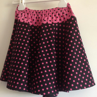 Pink and Black Spotty Skirt Age 5