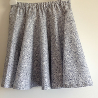 White and Blue Ditsy Print Skirt Age 6