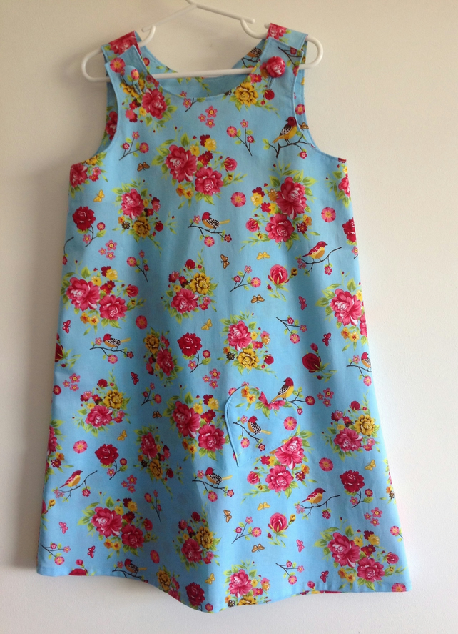 Pretty Blue Flowery Pinafore Dress Age 6