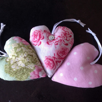 Pink and Green Lavender Hearts