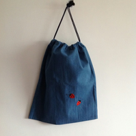 Denim Ladybird Drawstring Bag