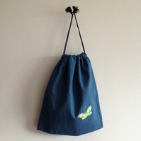 Denim Butterfly Drawstring Bag