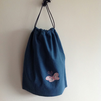 Denim Drawstring Bag with a Pink Butterfly