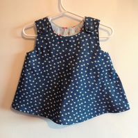 Denim Top with Hearts Age 3 - 6 months