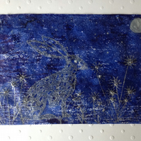 Hare in the Moonlight textile card