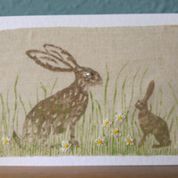 Mummy Hare and Baby Hare Blank Card