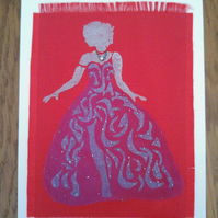 Lady on Red Blank Card