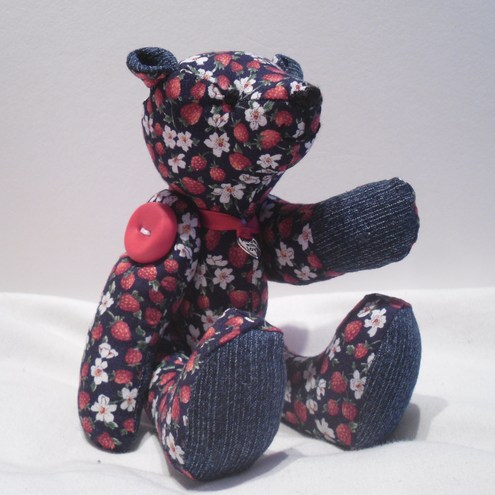 "Sale - ""Felicity"" The Miniature Strawberry Button Teddy Bear with UK postage inclusive."