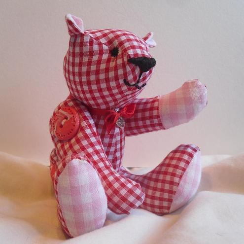 """Ruby"" The Miniature Red and Pink Button Teddy Bear with UK postage inclusive."