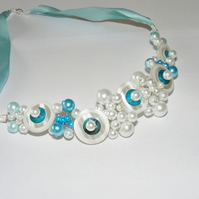 Glass Pearl and Turquoise Choker