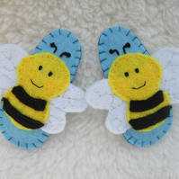 Bee hair clips, toddler hair accessories