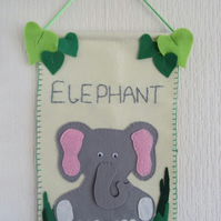 Elephant nursery decor, safari animal wall hanging