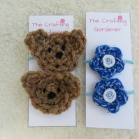 Brown bear cubs and flower toddler hair bands