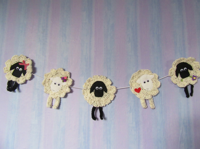 Crochet sheep garland
